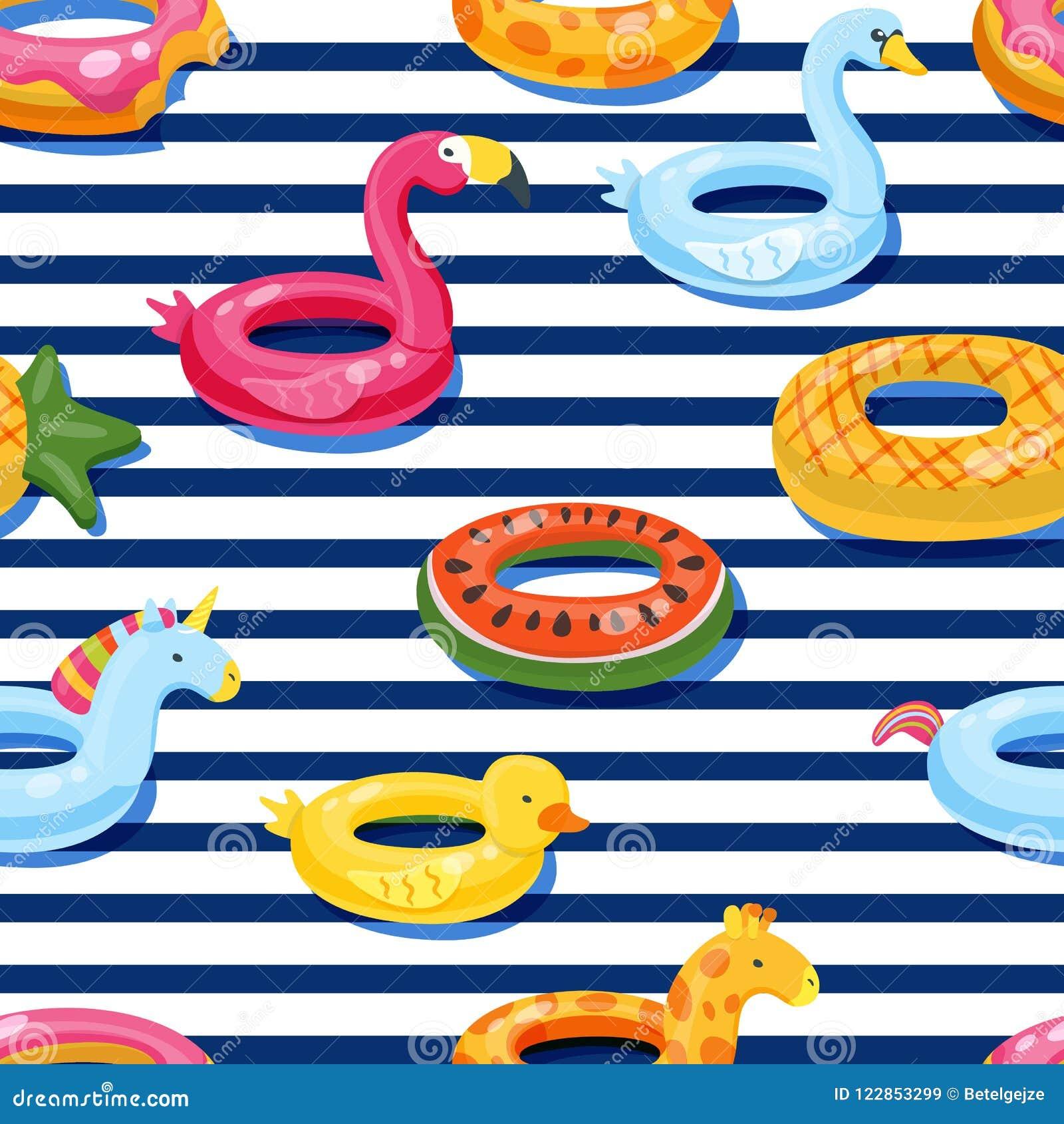 Swimmingpoolfloss des Vektors schellt nahtloses Muster Aufblasbarer Kinderspielwarenhintergrund Design für Sommertextildruck
