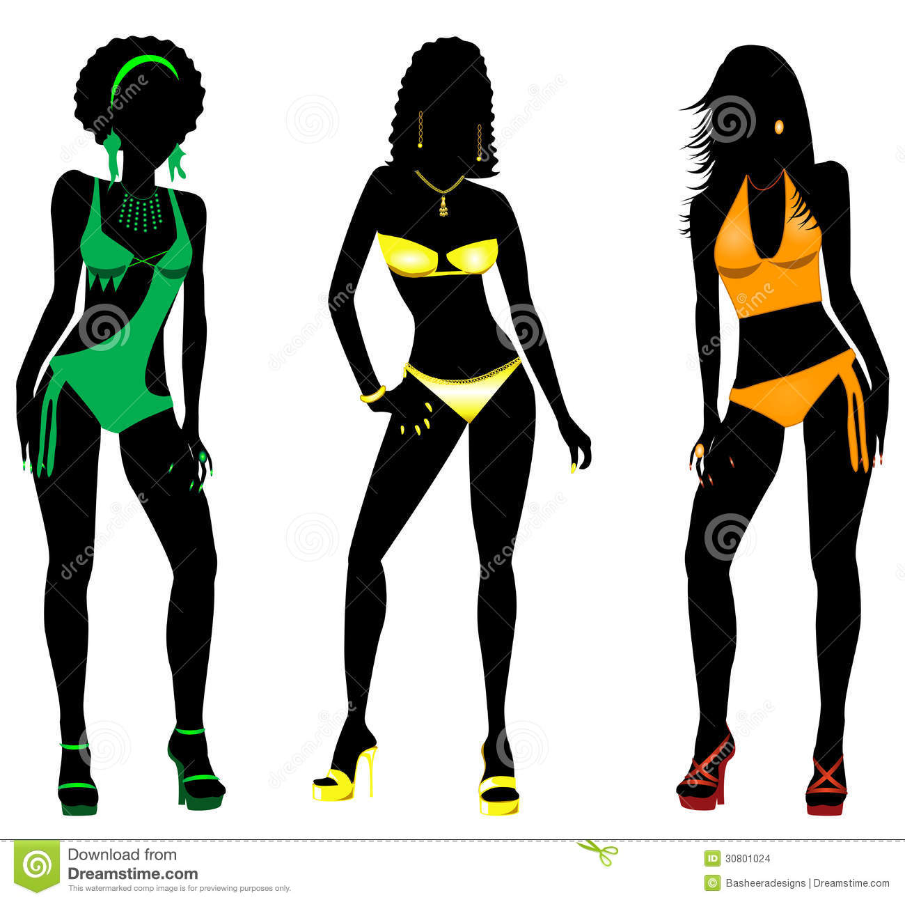 Swimsuit Silhouettes 2 Stock Images - Image: 30801024
