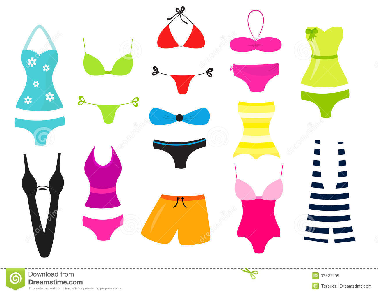 Swimsuit vector collection stock vector. Image of orange ...
