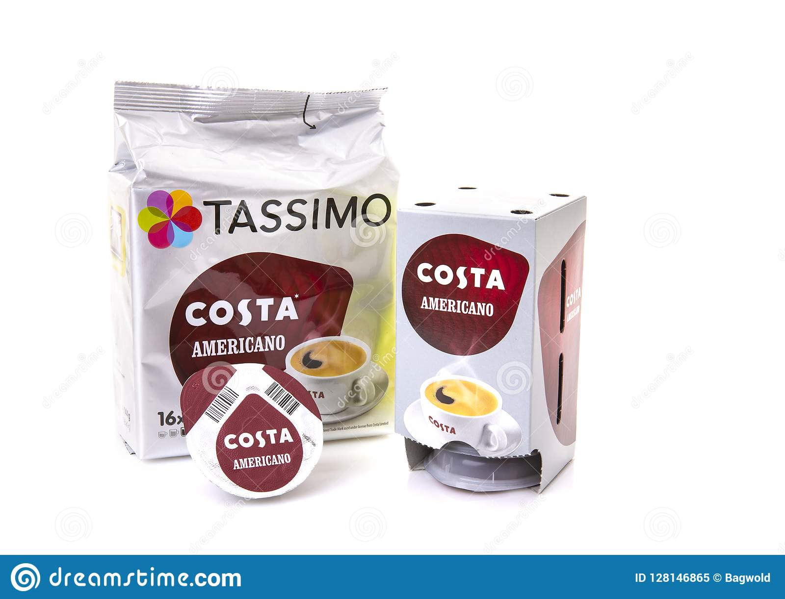 Tassimo Costa Coffee Pods On A White Background Editorial