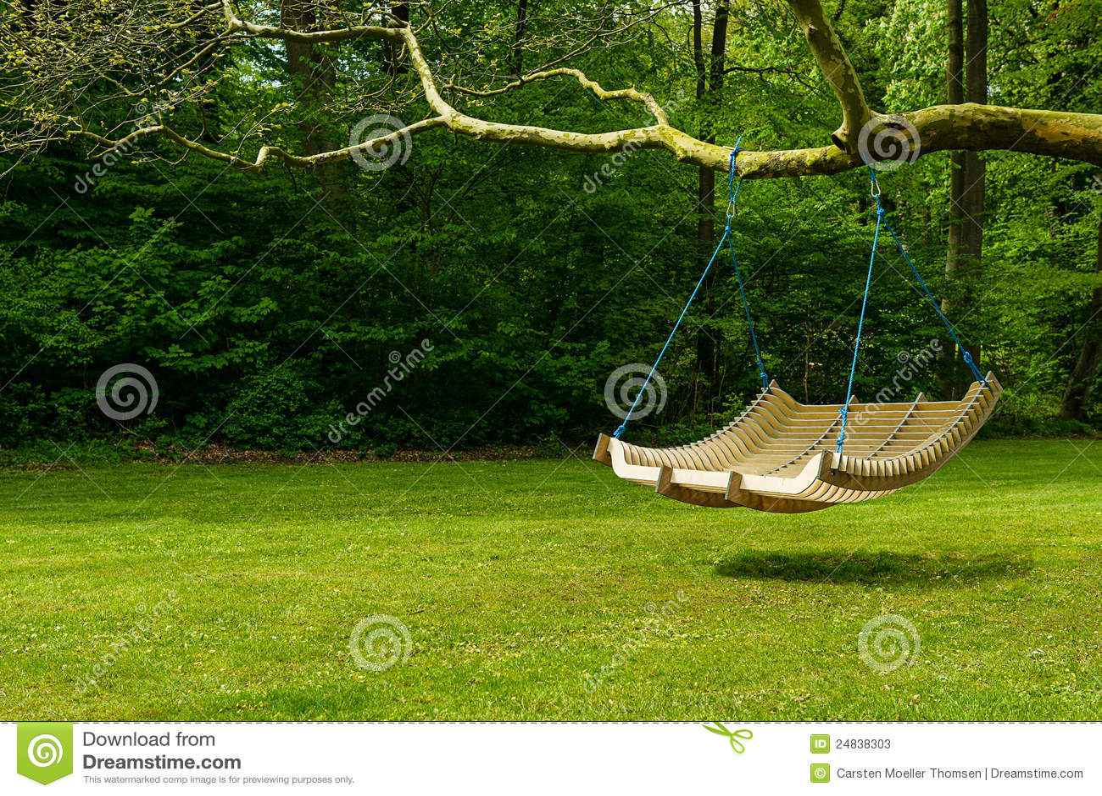 Swing Bench In Lush Garden Stock Image Of Informal