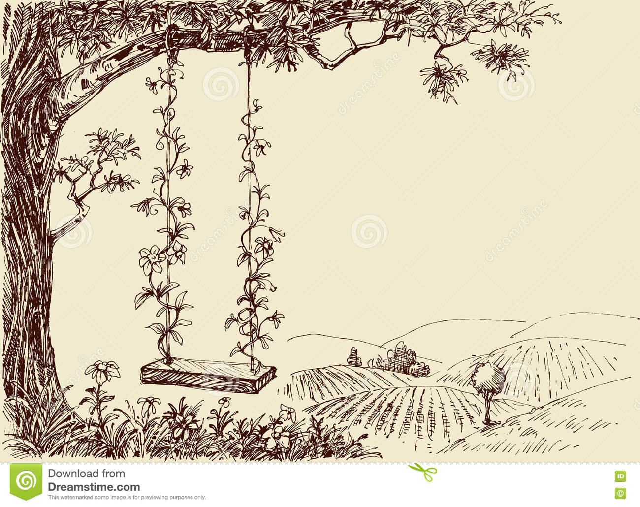Swing Drawing Stock Vector Image 75255433