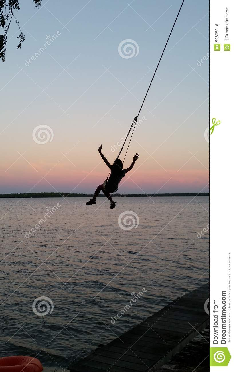 Swing over the water stock photo image 59605818 for Swing over water