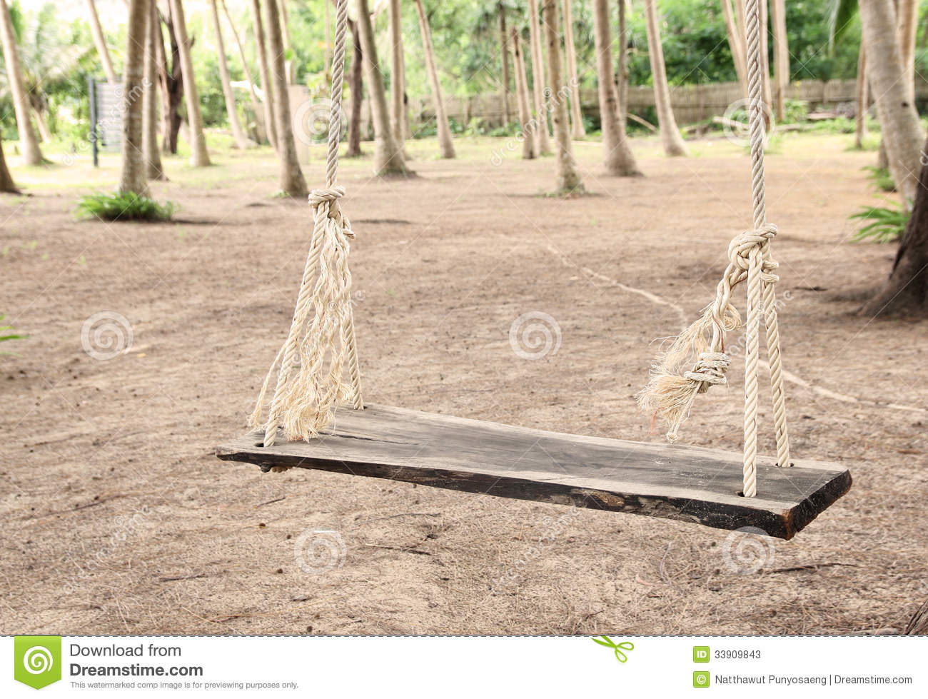 Swing with rope in the park stock photos image 33909843 for Rope swing plans