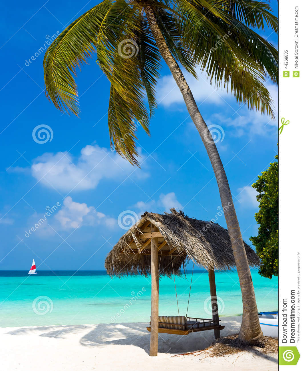 Exotic Beach: Swing On A Tropical Beach Stock Image. Image Of Beach