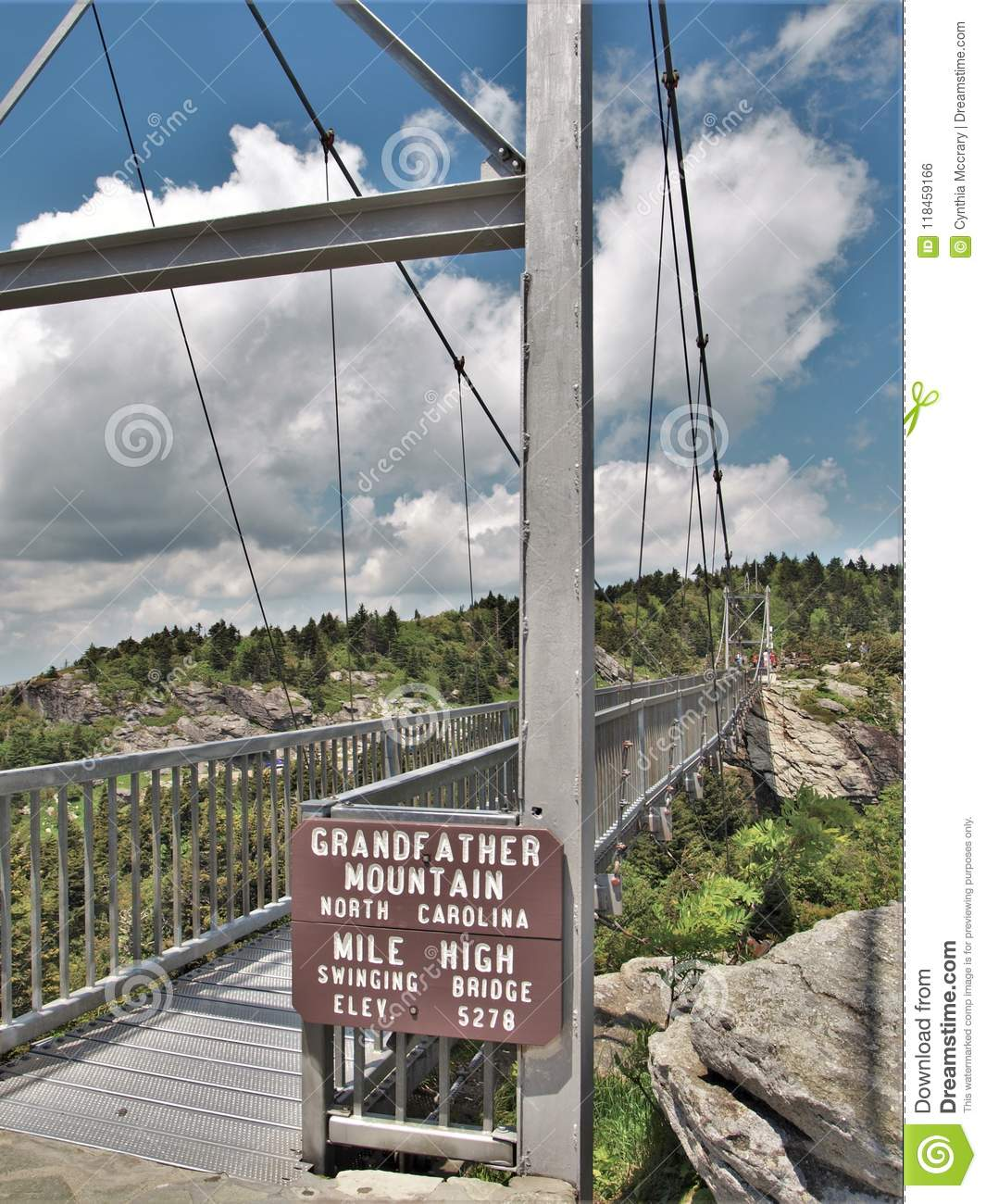 Swinging Bridge At Grandfather Mountain State Park Stock