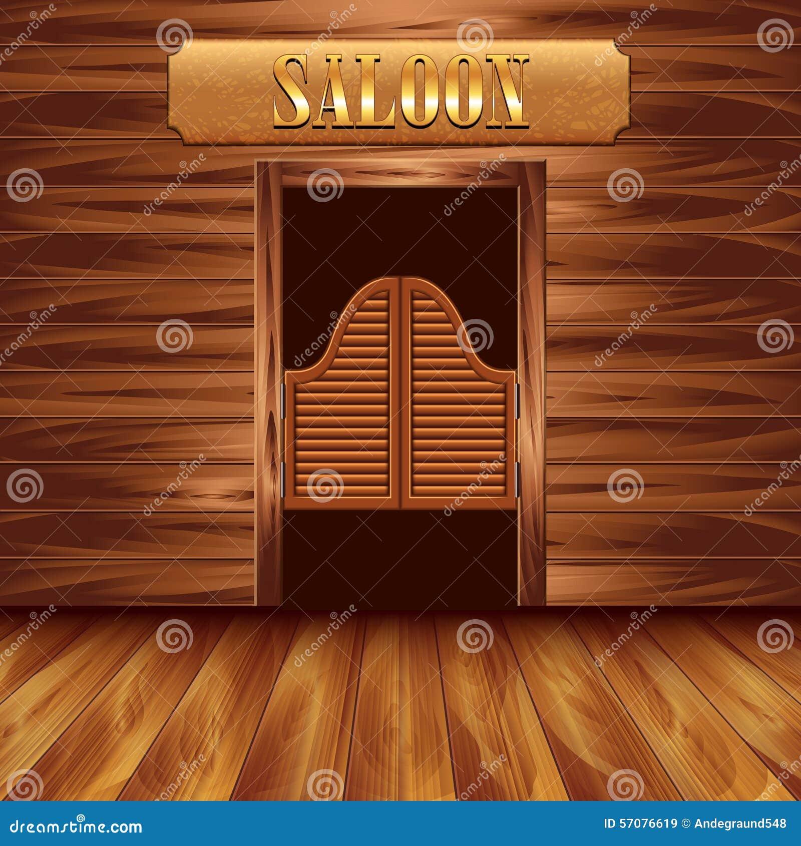 Swinging Doors Of Saloon Western Background Stock Vector