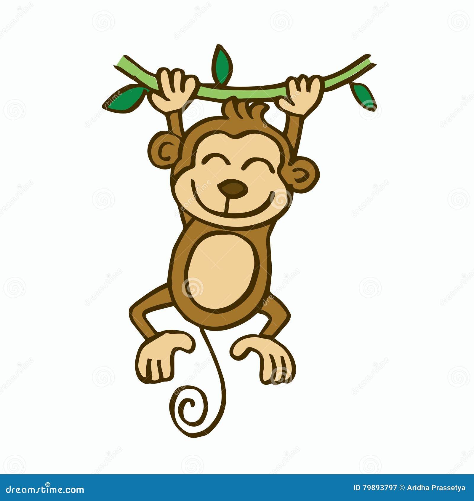 swinging monkey cartoon for kids stock vector - image: 79893797