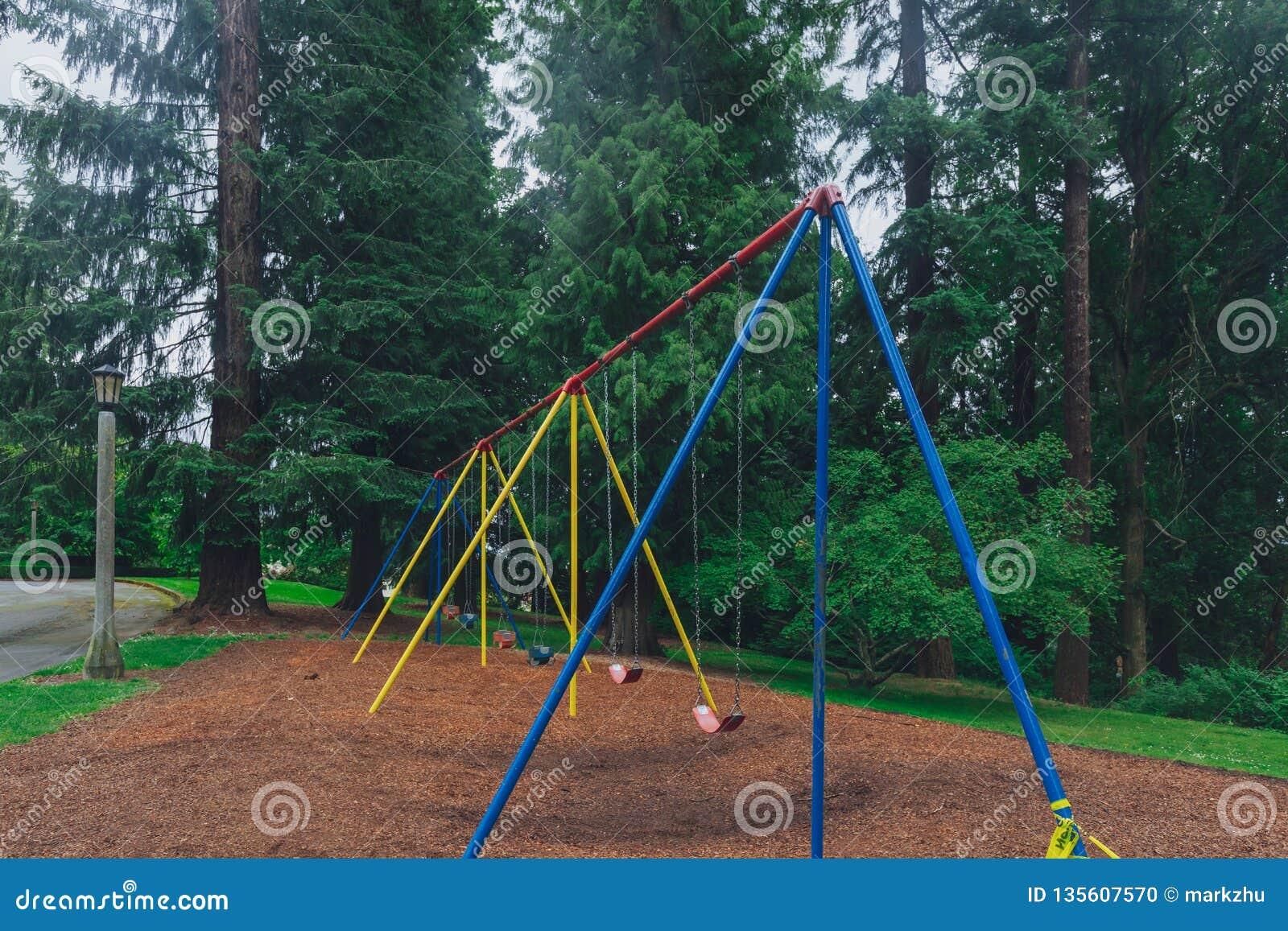 Swings Among Trees In Washington Park Portland Usa Stock