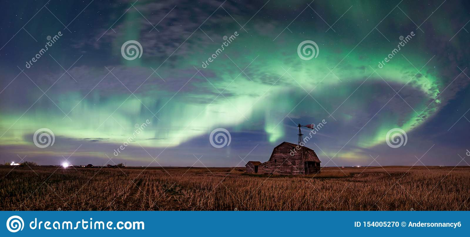 Swirl Of Bright Northern Lights Over Vintage Barn In ...