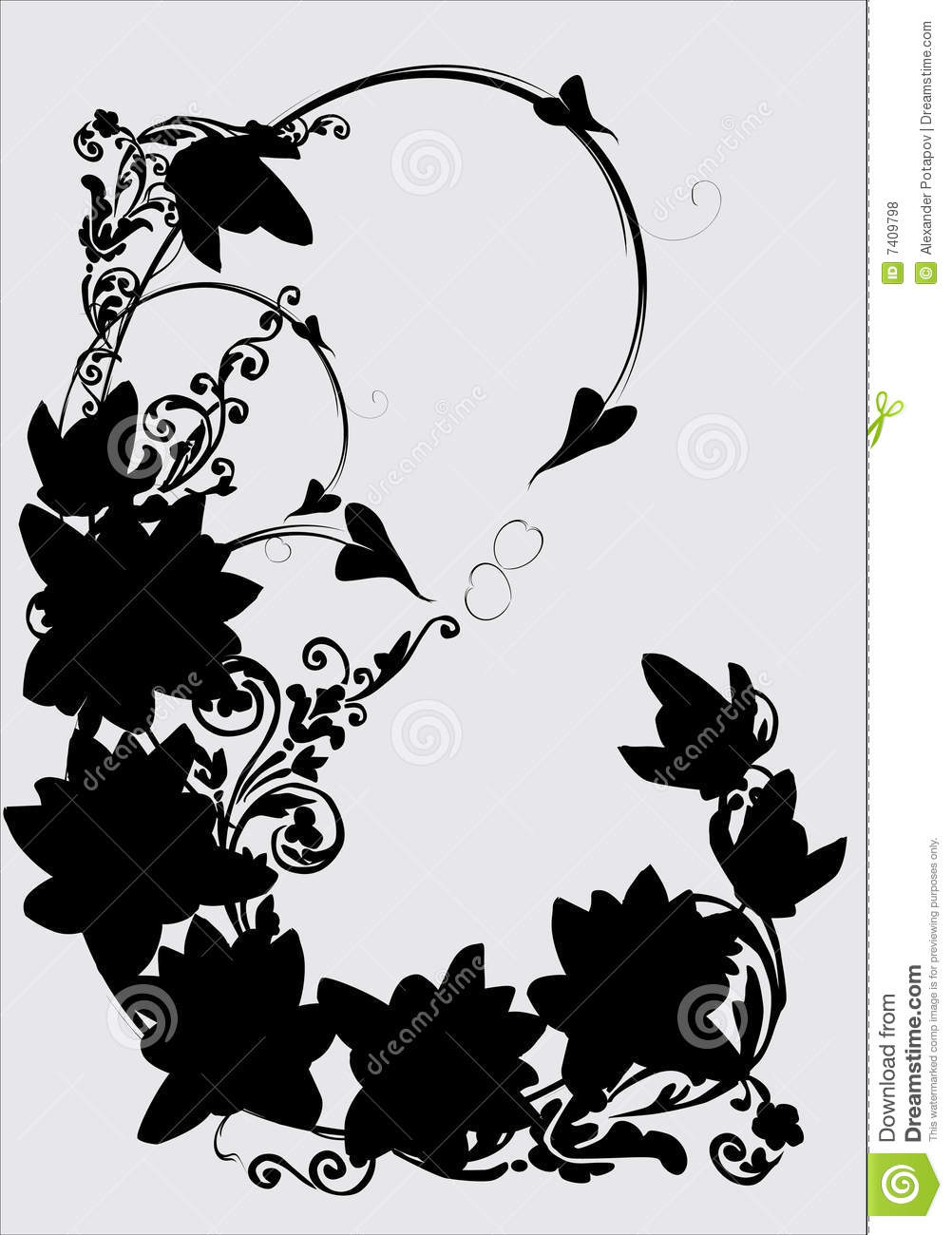 swirl of lily silhouette on gray royalty free stock photos