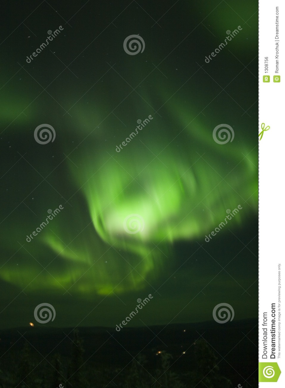 Download Swirling northern lights stock photo. Image of green, atmosphere - 1308756