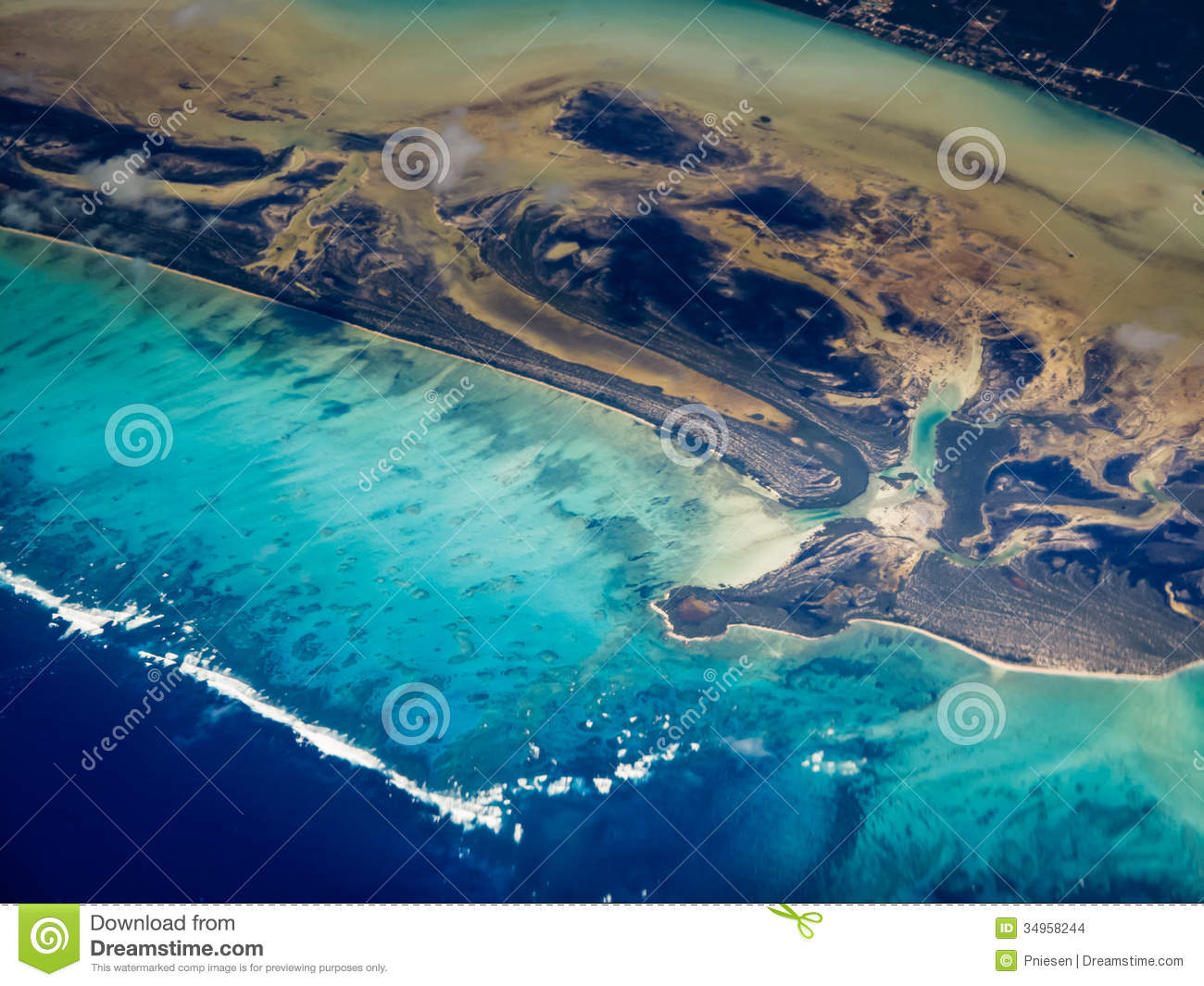 Swirling pattern Aerial view of Caribbean islands