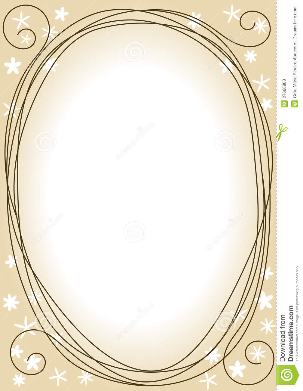 Swirls Border Frame With Flower Silhouettes Stock Photo