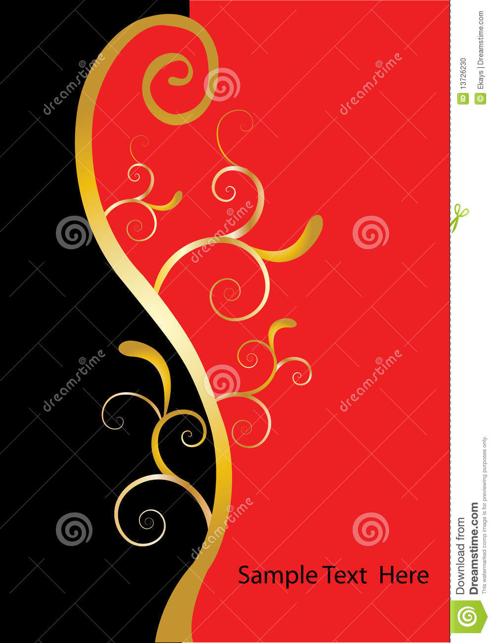 Swirls gold black red stock photo image 13726230 for Red with gold