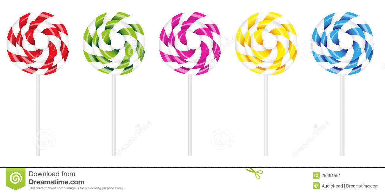 Vector Illustration of Swirly Lollipop in Various Colors Isolated on ...