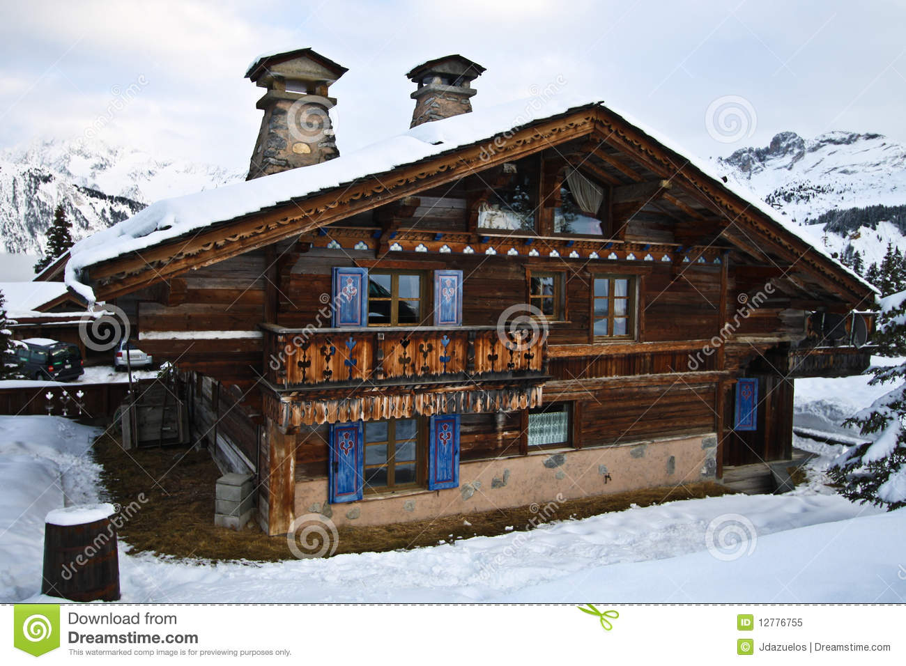 Swiss Alpine Chalet Stock Image Of Heaps Landscape