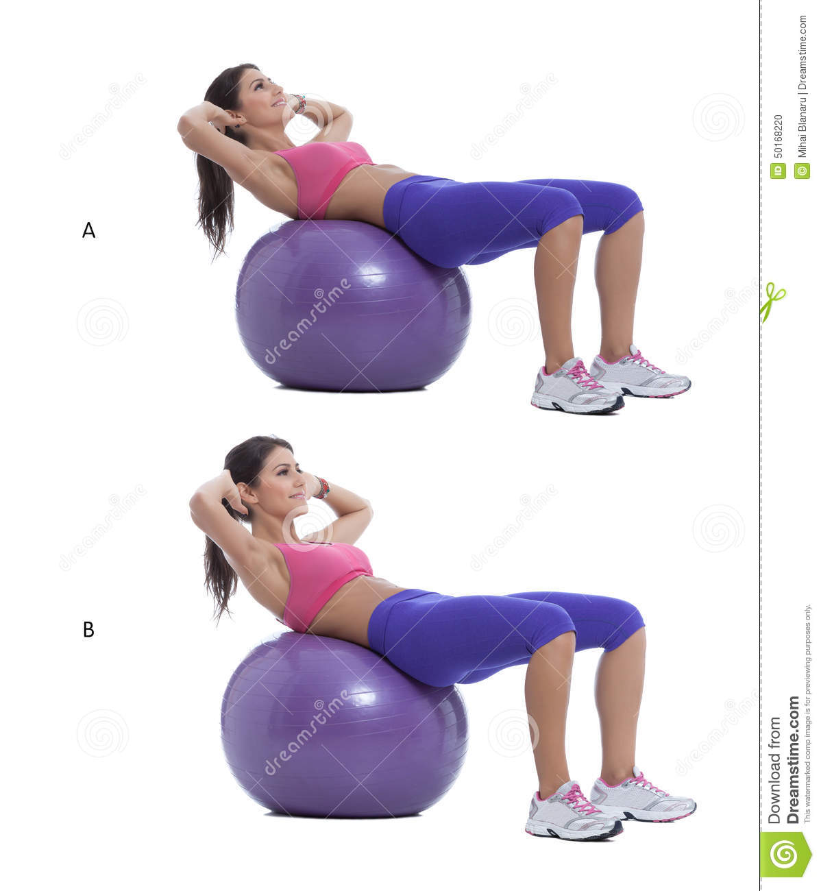 Swiss ball crunch stock photo image 50168220 for Floor ab workouts