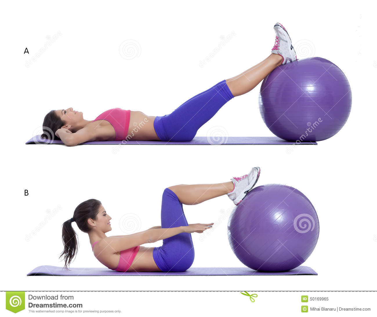 Stability Ball Knee Crunches: Swiss Ball Crunch Stock Image. Image Of Exercise