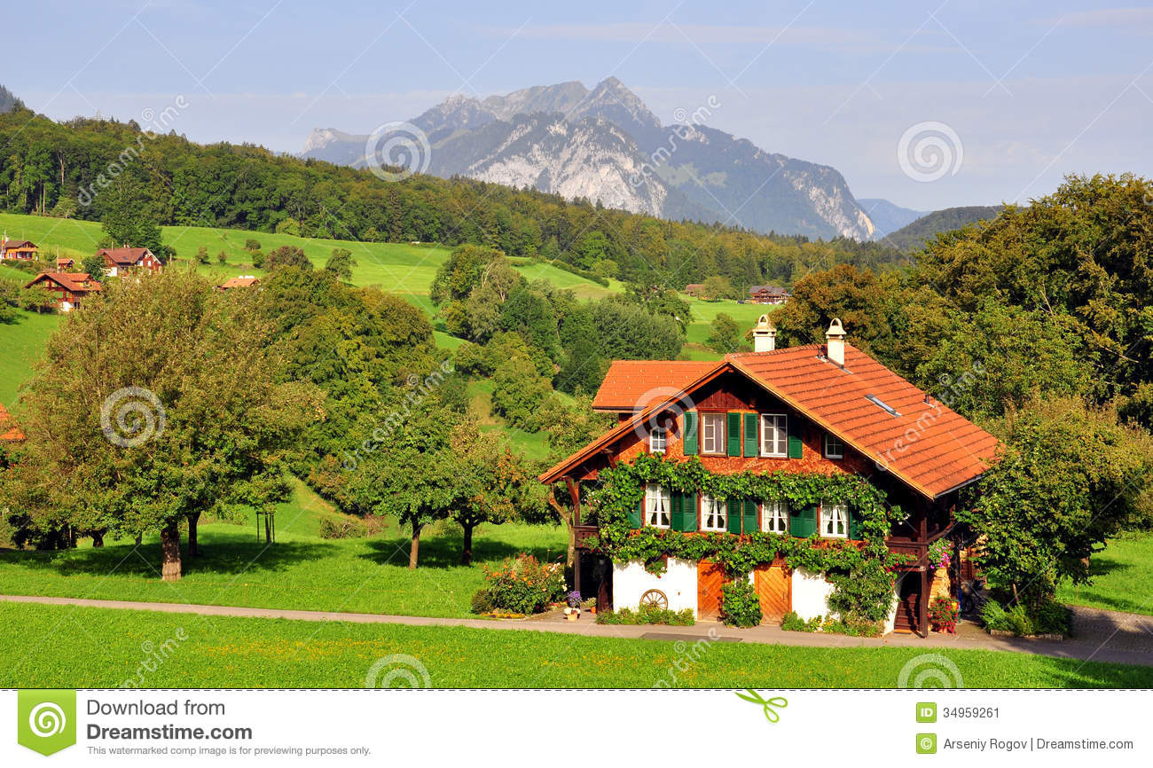 Swiss chalet stock image. Image of europe, farmhouse ...