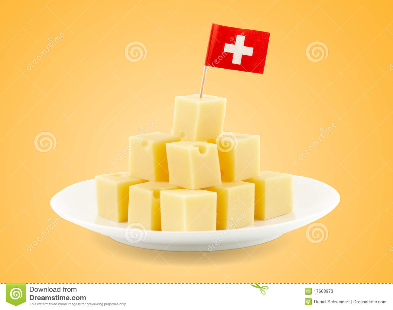 Swiss Cheese Cubes Stock Photos - Image: 17668973