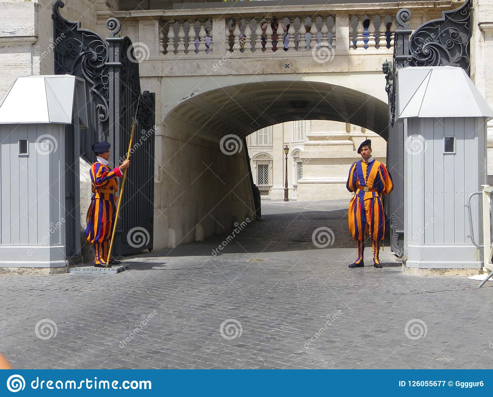 Swiss Guards in Uniform Outside of Tunnel at St. Peter`s Basilica