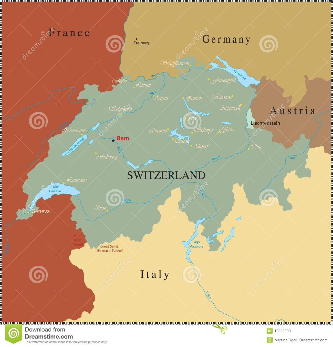Swiss Map With Major Cities. Stock Vector - Illustration of ...