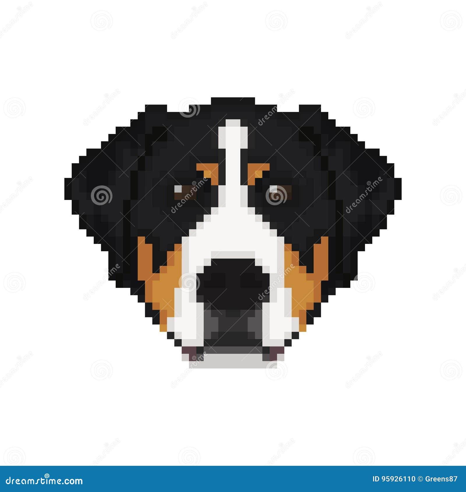 Swiss Mountain Dog Head In Pixel Art Style Stock Vector