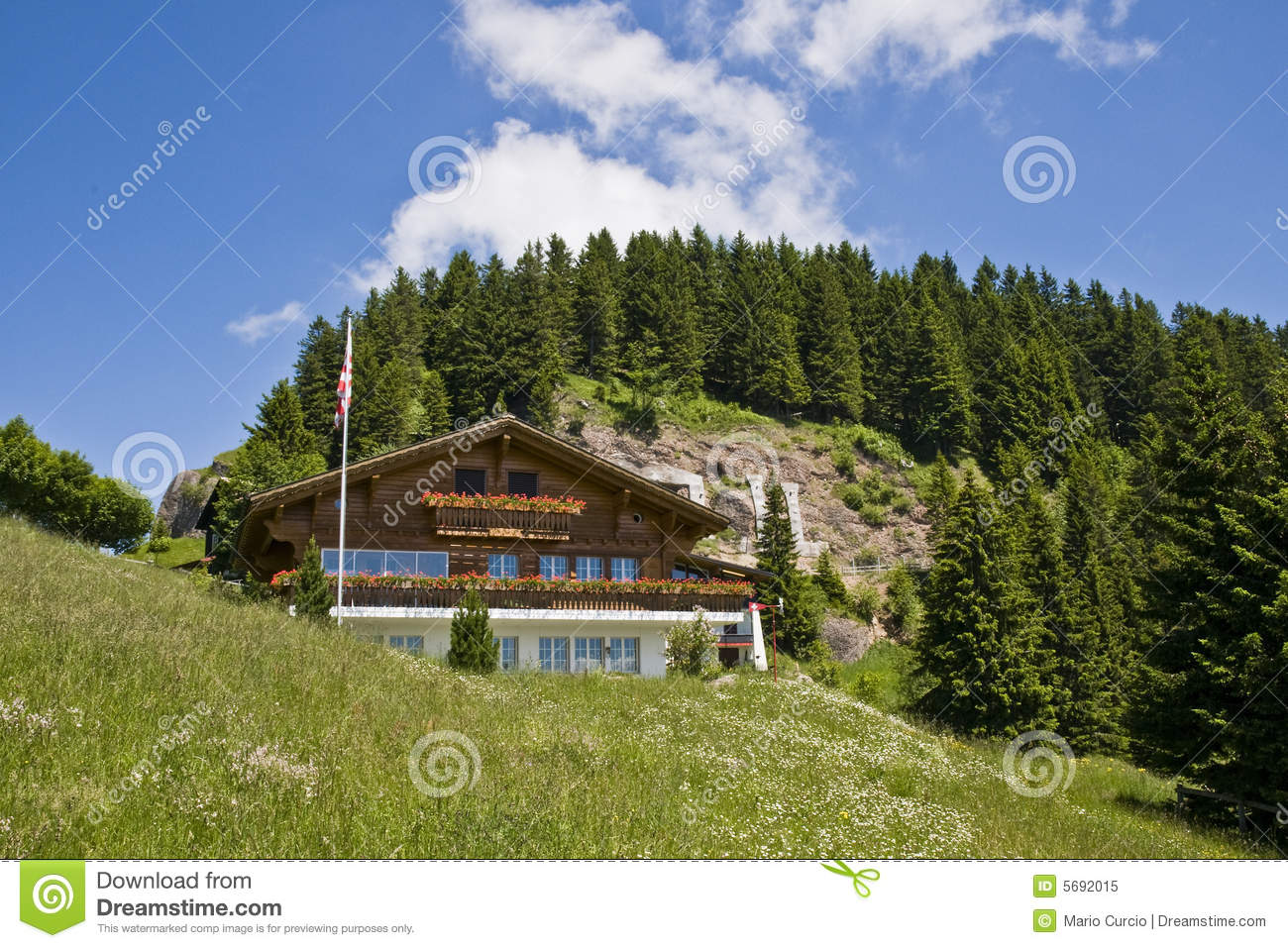 Swiss mountain house stock image image of flag fields for Mtn house