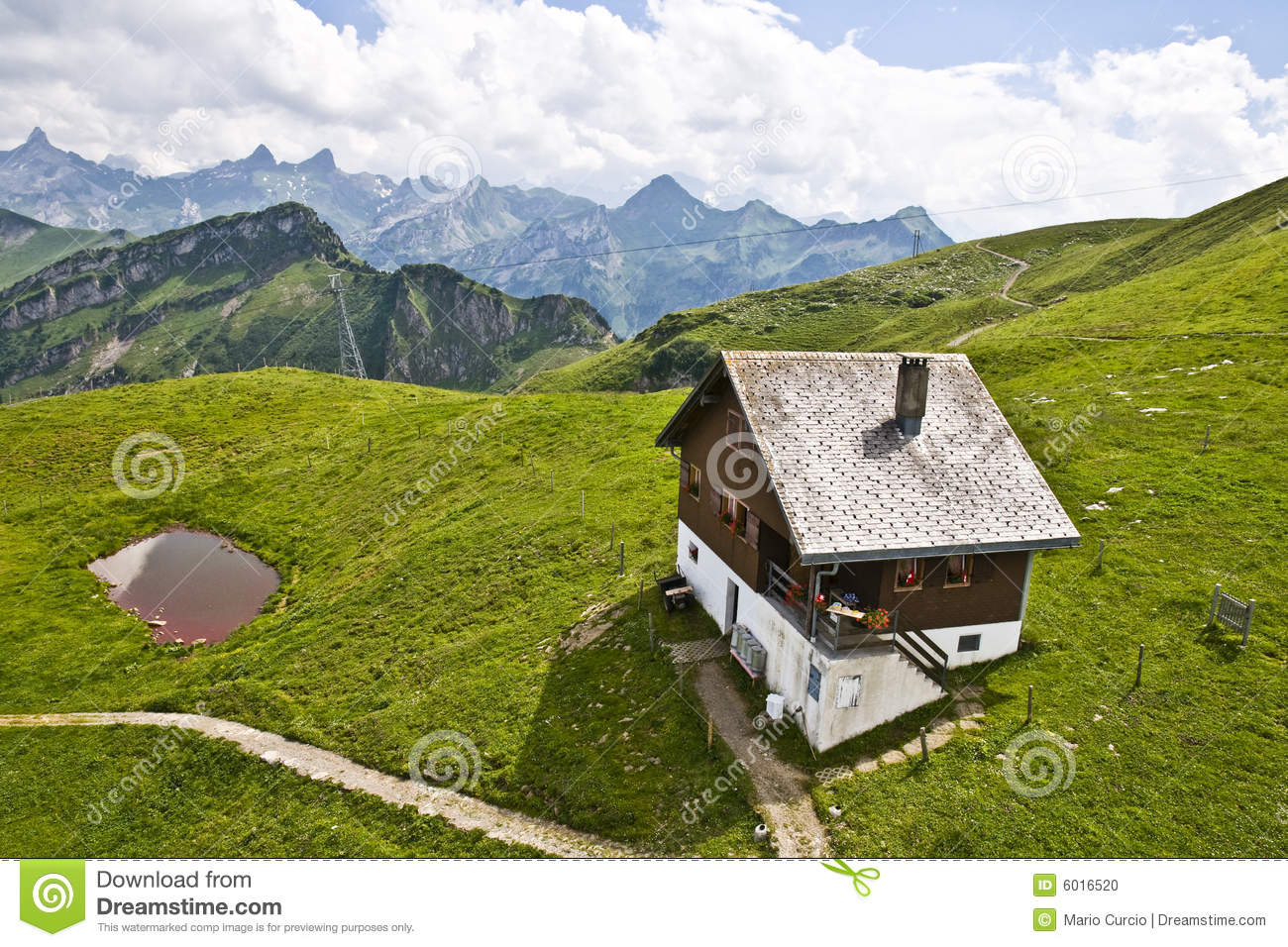 aerial house isolated mountains swiss ...