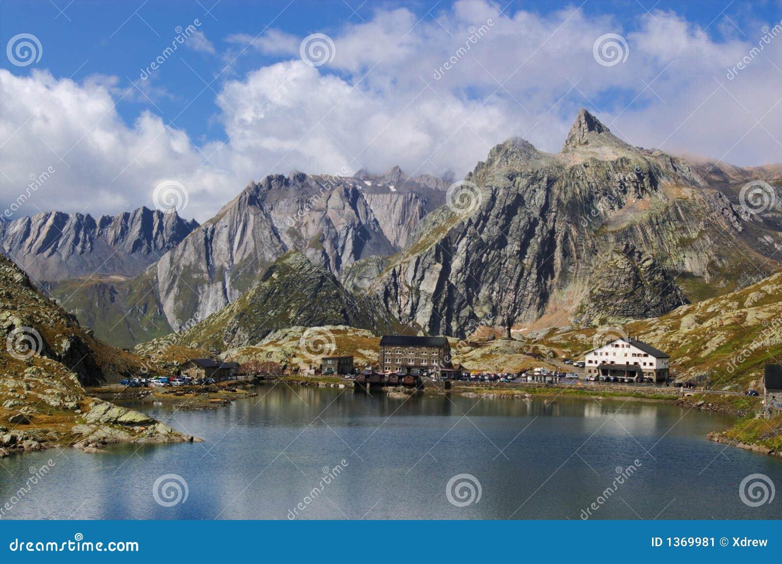 Swiss mountain lake landscape