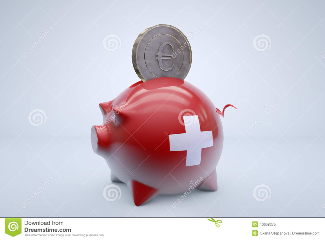 Swiss piggy bank with euro coin stock illustration illustration royalty free stock photo buycottarizona Image collections