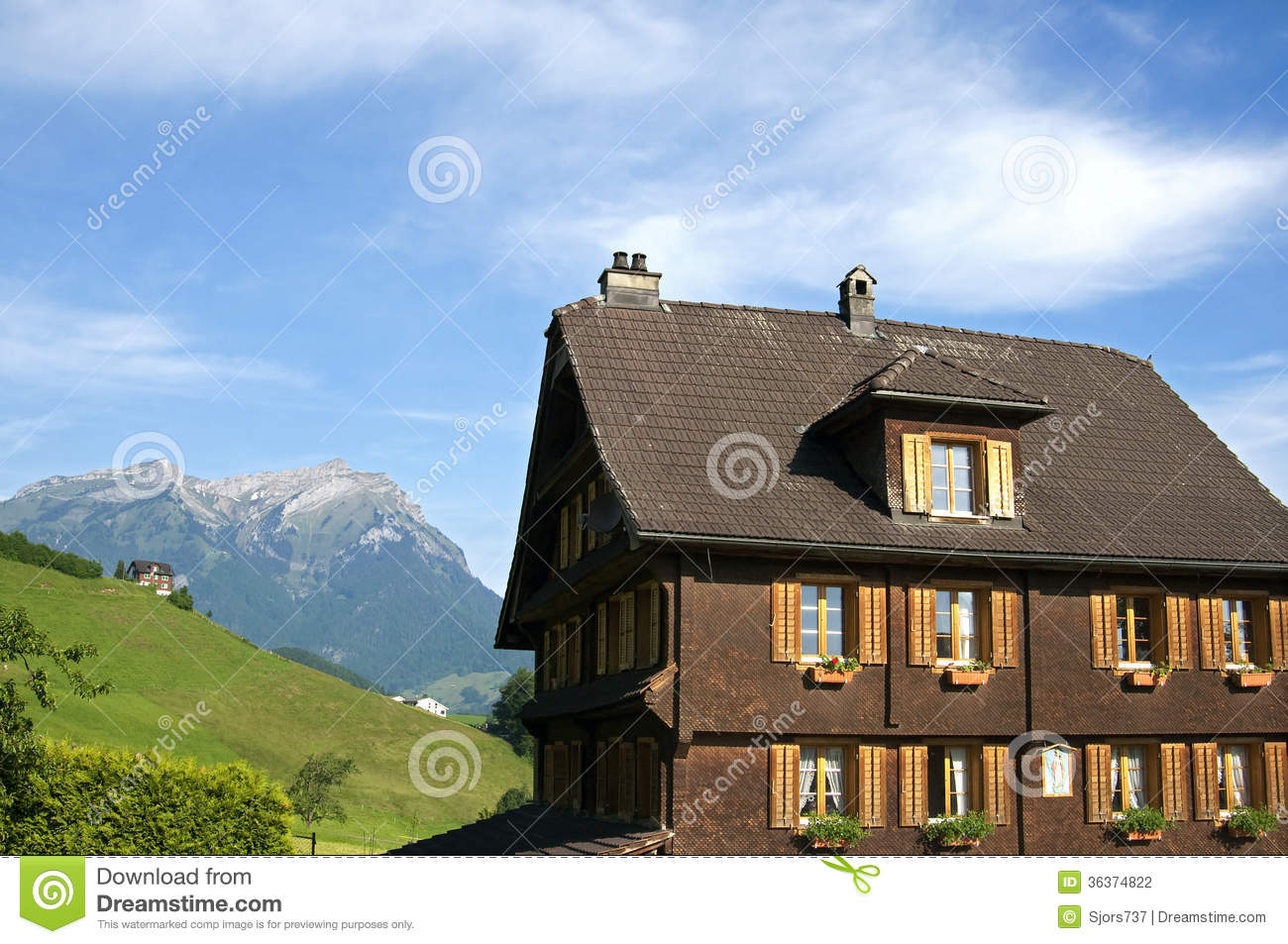 Swiss wooden house in alps mountain landscape stock for Panoramic view house plans