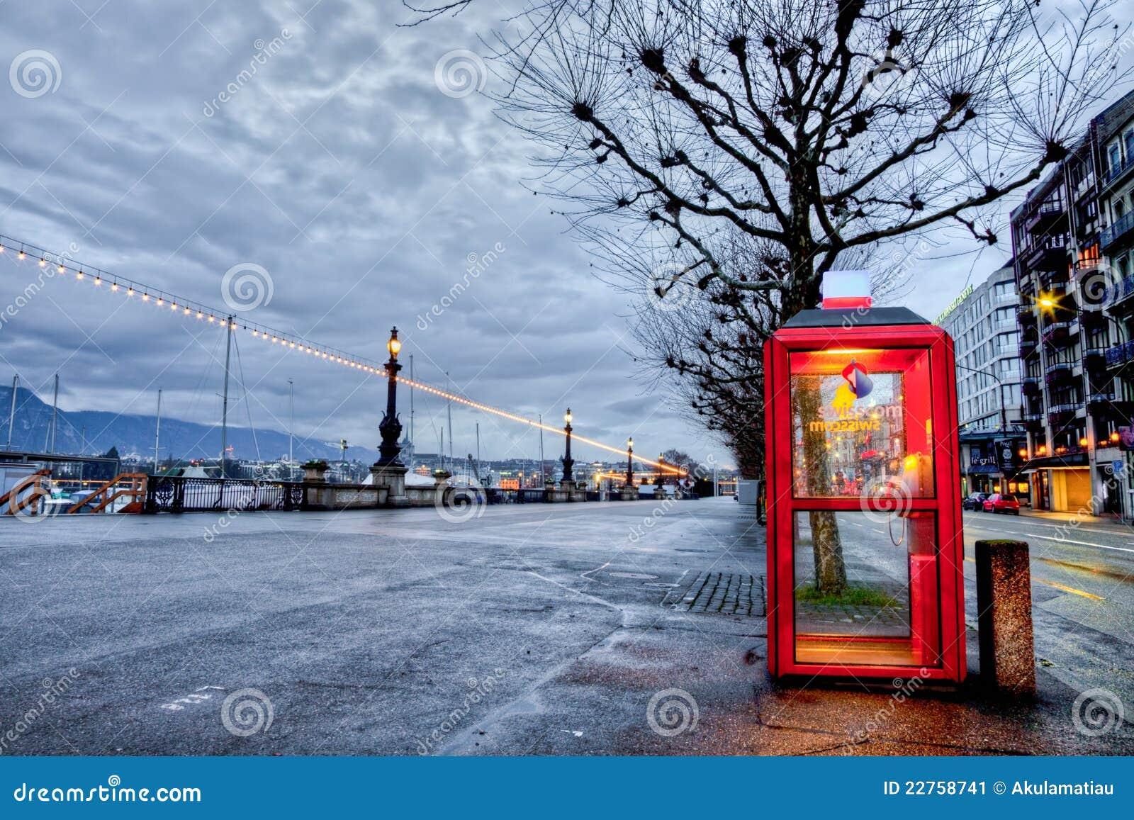 Swisscom Telefonu Budka w Genewa, Szwajcaria
