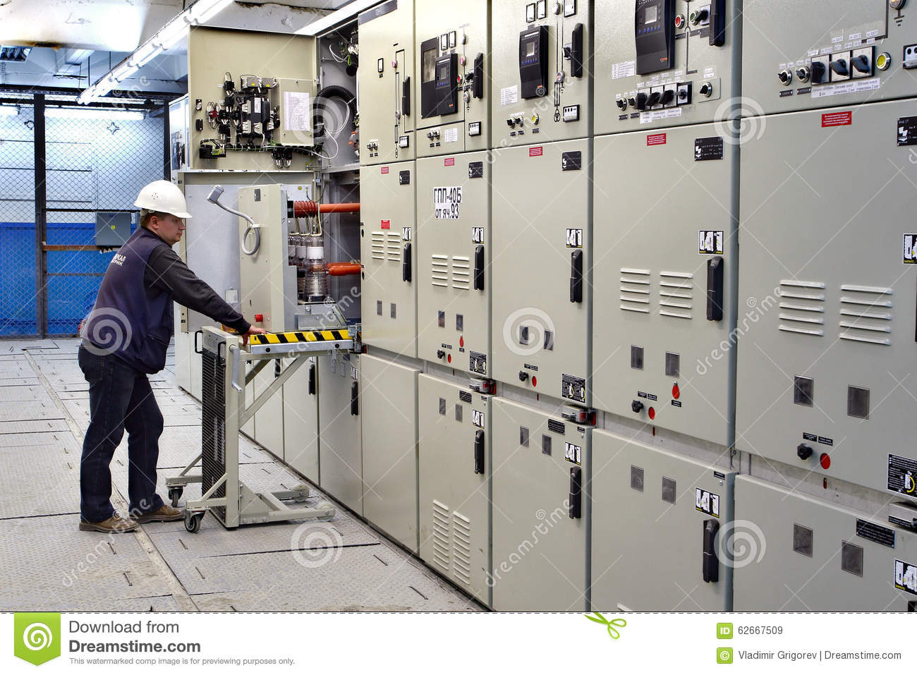 Switch Room, Electrical Engineer Control Switchgear Panel. Editorial ...