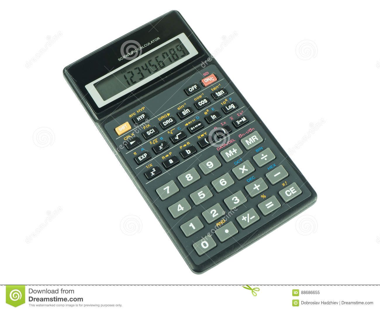 Switched on scientific calculator on white background