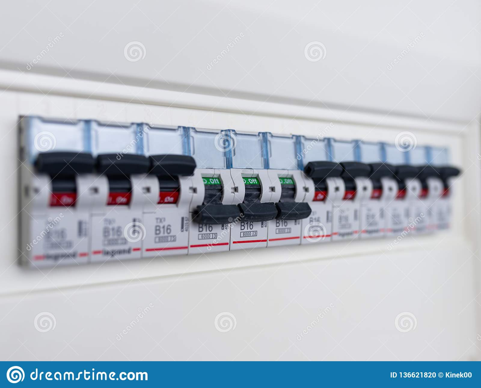 switches in electrical fuse box. many black circuit breakers in a row in  position on and three switch in position off. power contr stock photo -  image of cycle, automatic: 136621820  dreamstime.com