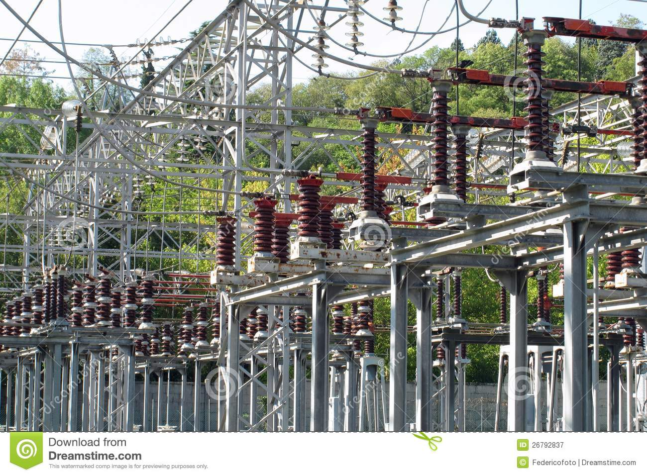 Switches Of A High Voltage Power Station Stock Image