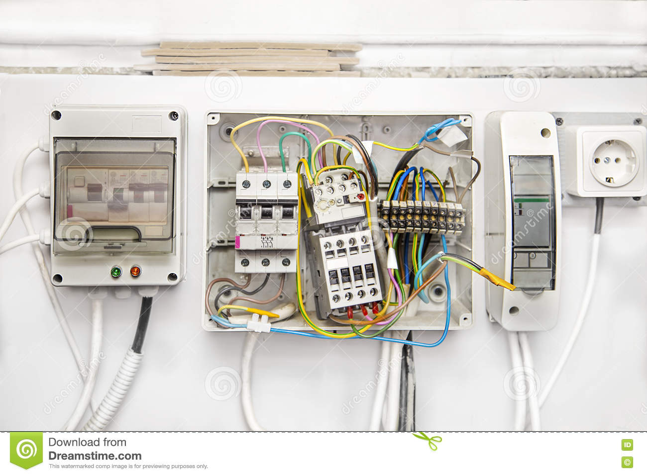 Switches Wires Breakers In Boxes Stock Photo Image Of Industry Wiring Electric Meter Diagram