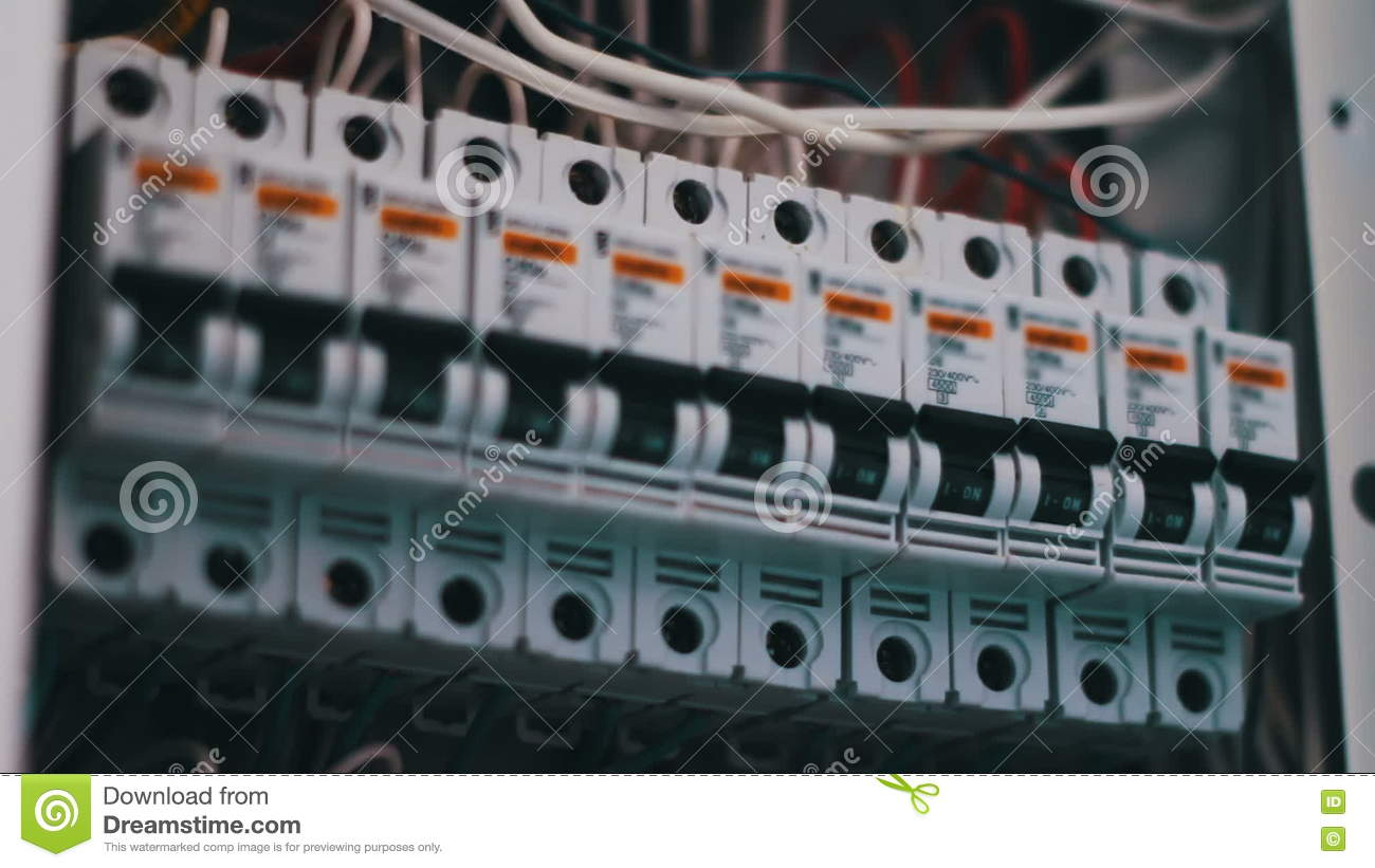 Electric Breaker Box Camp Circuit Panel Switching Man Hand Turns Off Electricity Power Fuse Electrical Machines