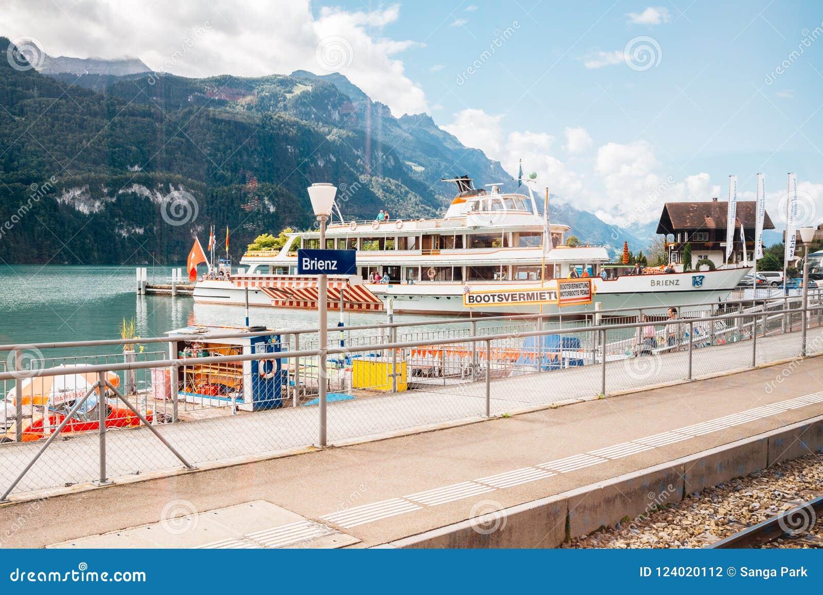 Brienz lake and cruise ship at Brienz railway station in Switzerland