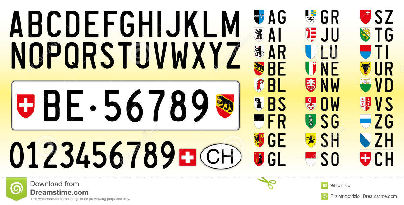 Switzerland car plate letters numbers and symbols stock vector switzerland car plate letters numbers and symbols buycottarizona Image collections