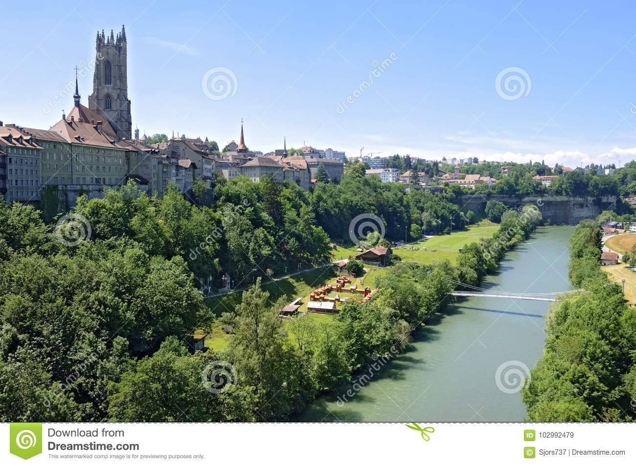 City View Of Upper And Lower Part Of Fribourg Stock Image - Image of ...