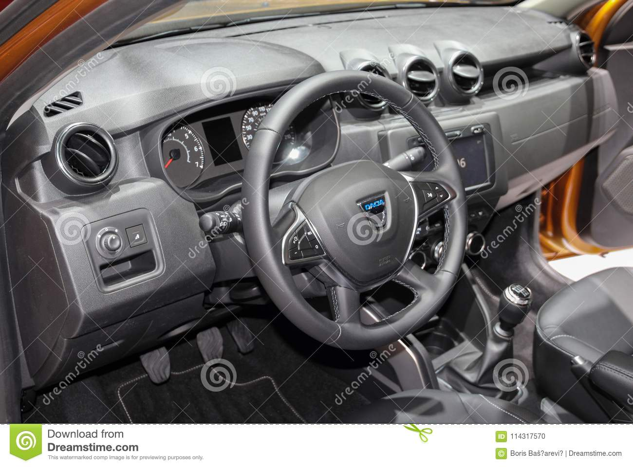 Switzerland; Geneva; March 8, 2018; The Dacia Duster Interior; T ...