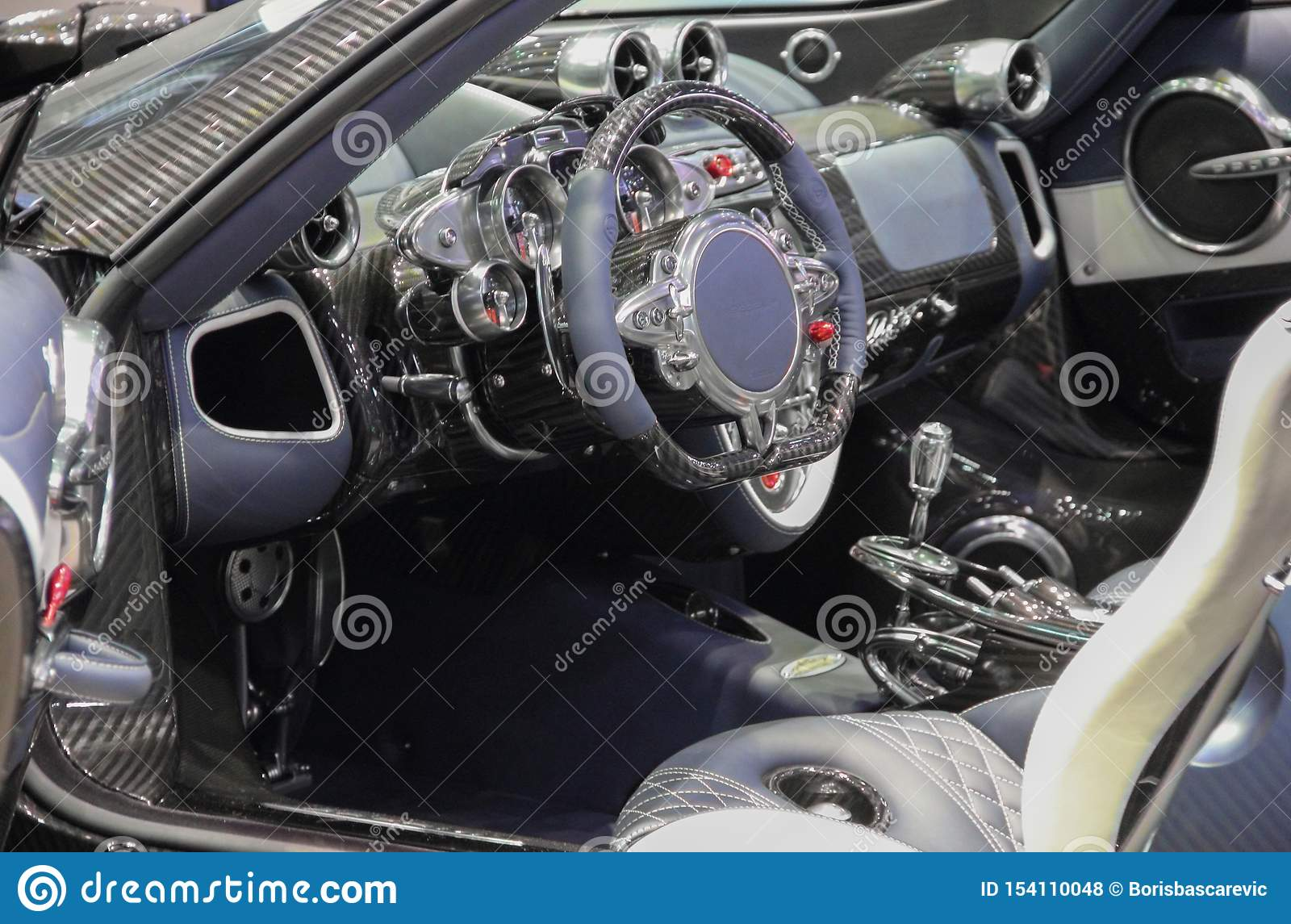 Switzerland Geneva March 10 2019 Pagani Huayra Bc Roadster Interior The 89th International Motor Show In Geneva From 7th To Editorial Stock Photo Image Of Performance Model 154110048