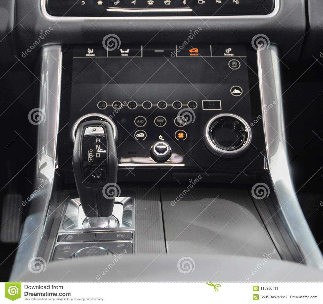 Switzerland; Geneva; March 8, 2018; Range Rover automatic gearbox lever; the 88th International Motor Show in Geneva from 8th to