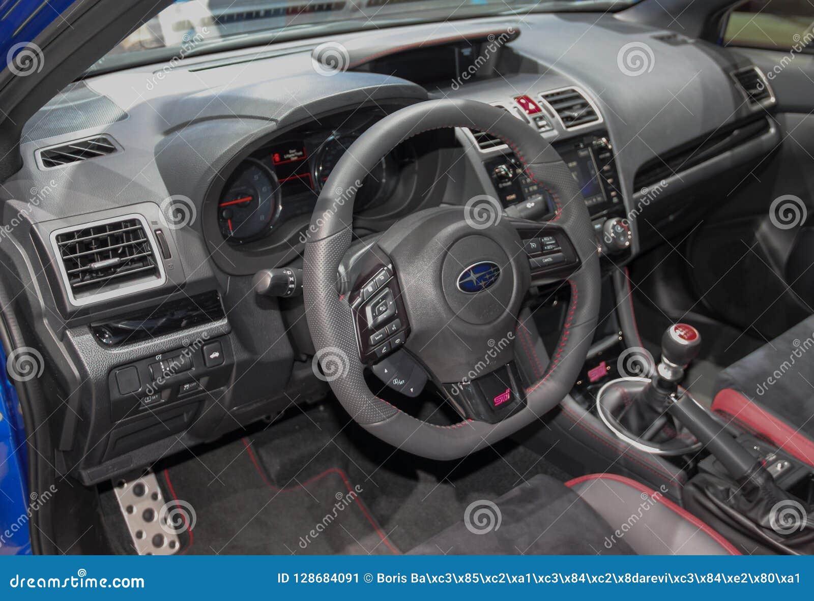 Switzerland Geneva March 8 2018 The Subaru Wrx Sti Interior The