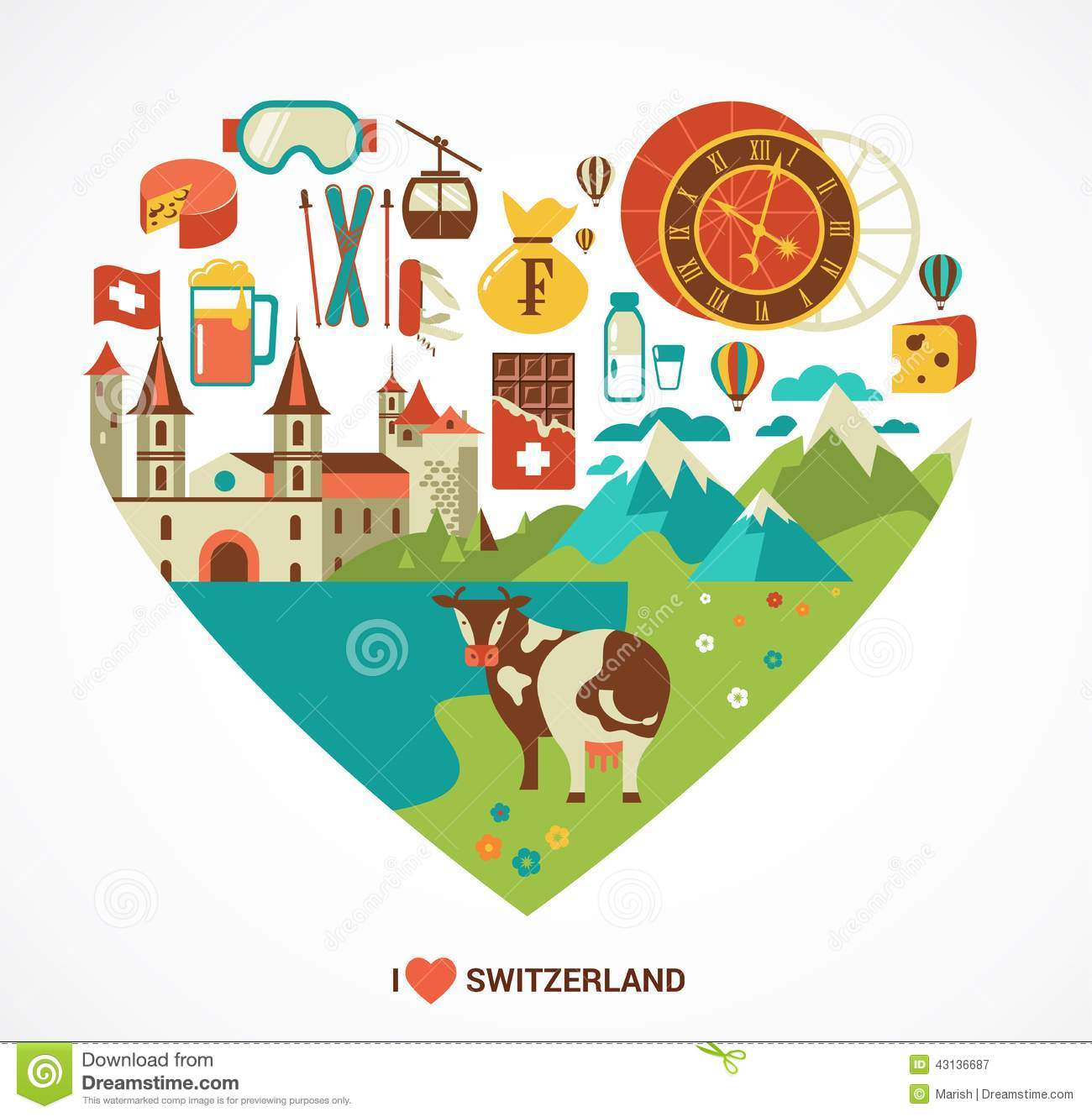 Switzerland Love Heart With Vector Icons Stock Image Image Of
