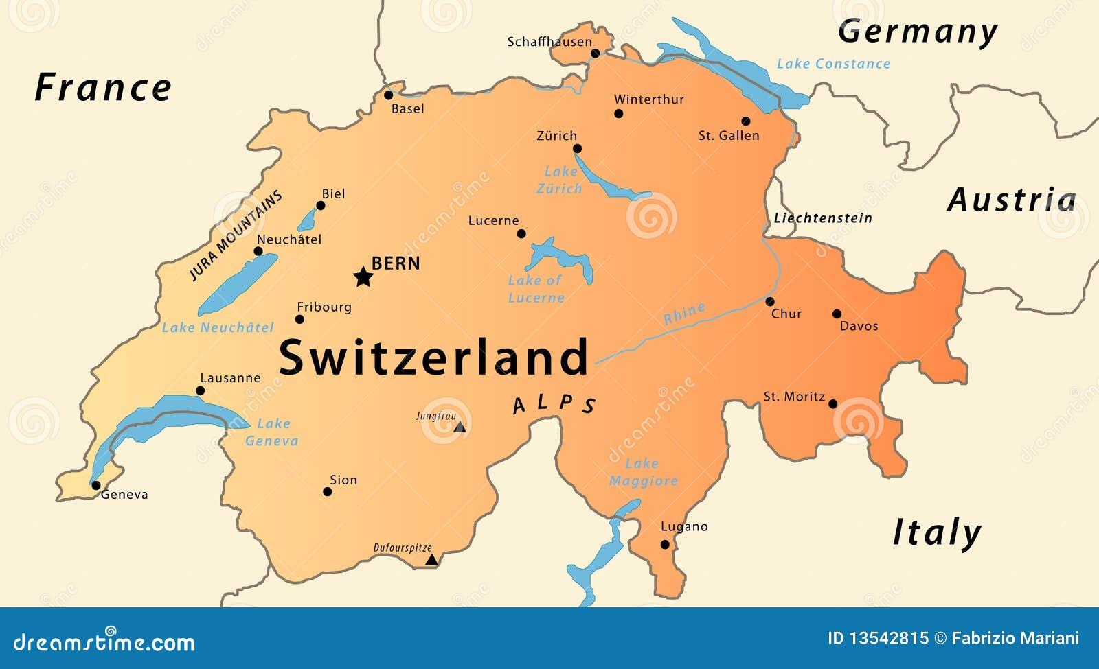 Switzerland map stock vector. Illustration of confederation ...