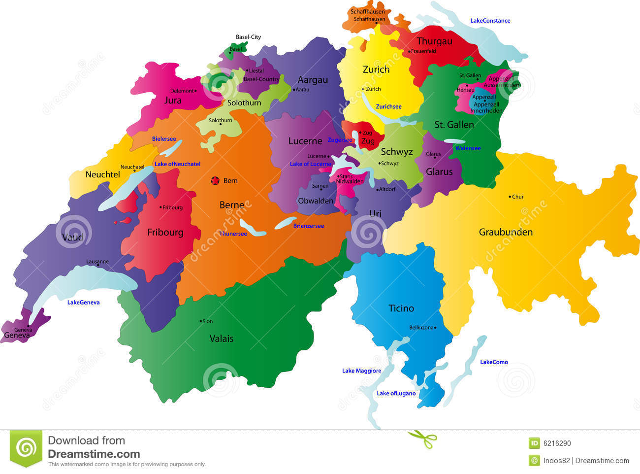 Switzerland map designed in illustration with the regions colored in ...